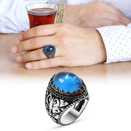 Tesbihane - Mavi Zirkon Taşlı Ferforje Tasarım 925 Ayar Gümüş Erkek Yüzük