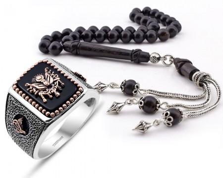 Tesbihane - Mevlevi İmameli Gümüş Püsküllü Abanoz Ağacı Tesbih ve Gümüş Yüzük Kombini