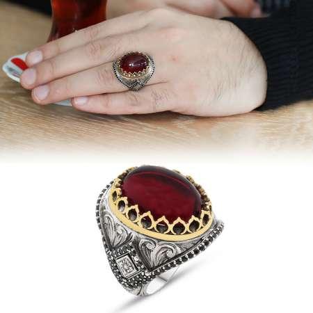 Tesbihane - Mikro İşlemeli Kırmızı Ruby Taşlı 925 Ayar Gümüş Erkek Yüzük