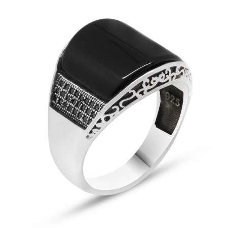 Mikro Taşlı Siyah Oniks Taşlı 925 Ayar Gümüş Erkek Yüzük - Thumbnail