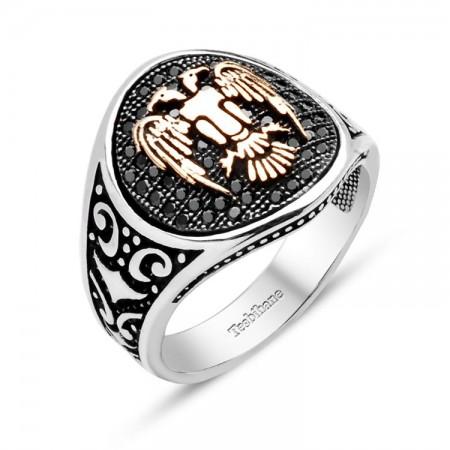 Tesbihane - Mikron Taşlı Özel İşçilikli 925 Ayar Gümüş Selçuklu Kartalı Yüzük