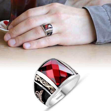 Tesbihane - Tuğra İşlemeli Kırmızı Zirkon Taşlı 925 Ayar Gümüş Milli İrade Yüzüğü