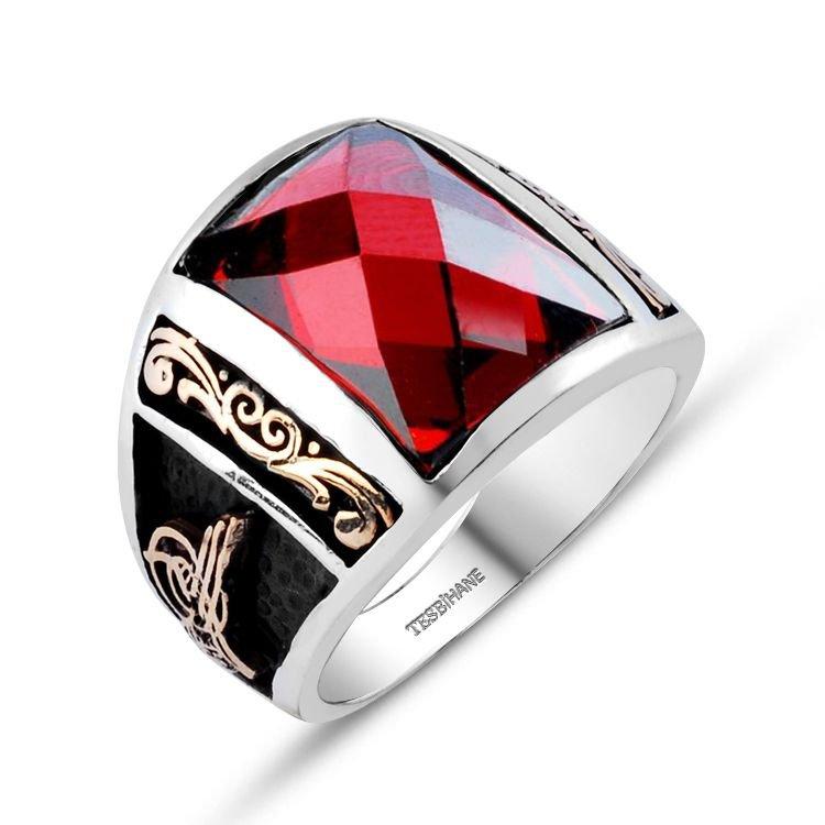 Tuğra İşlemeli Kırmızı Zirkon Taşlı 925 Ayar Gümüş Milli İrade Yüzüğü