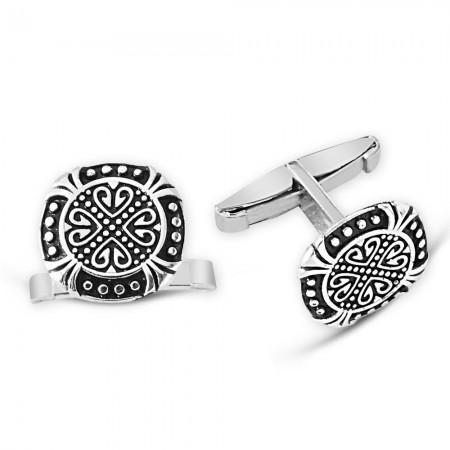 Tesbihane - Motifli 925 Ayar Gümüş Kol Düğmesi