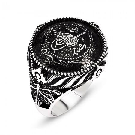 Tesbihane - Tuğra Motifli 925 Ayar Gümüş Mühr-ü Ala Yüzüğü