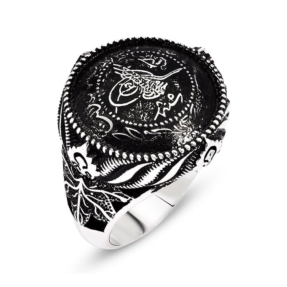 Tuğra Motifli 925 Ayar Gümüş Mühr-ü Ala Yüzüğü