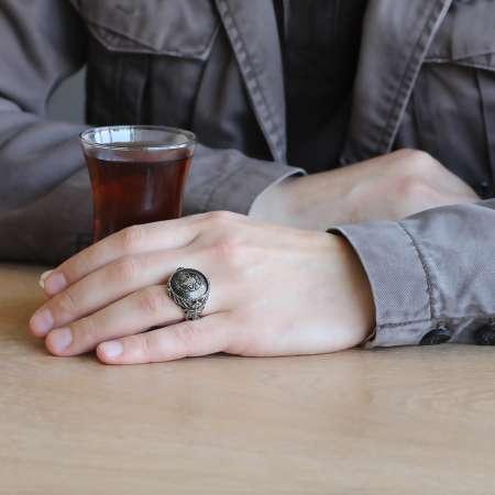 Tuğra Motifli 925 Ayar Gümüş Mühr-ü Ala Yüzüğü - Thumbnail