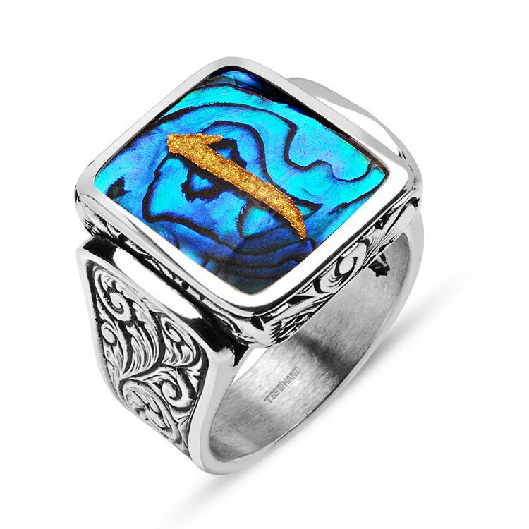 Okyanus Sedefi Üzerine Altın Varak Elif Harfli Gümüş Kare Yüzük