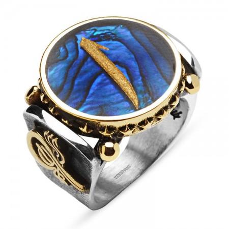 Tesbihane - Okyanus Sedefi Üzerine Altın Varak Elif Harfli Gümüş Yüzük