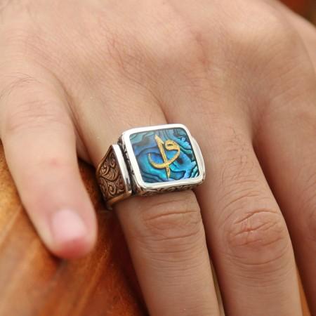 - Okyanus Sedefi Üzerine Altın Varak Elif Vav Harfli Gümüş Kare Yüzük