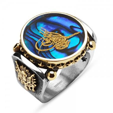 Tesbihane - Okyanus Sedefi Üzerine Altın Varak Tuğralı Arma Tasarım Gümüş Yüzük
