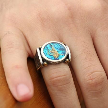 - Okyanus Sedefi Üzerine Altın Varak Tuğralı Gümüş Yüzük