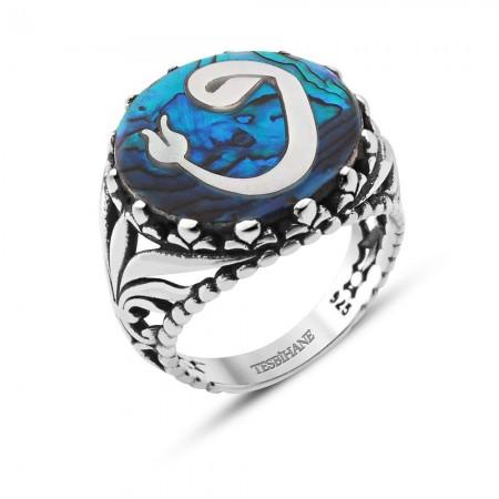 - Okyanus Sedefi Üzerine Lale Vav Tasarım Gümüş Yüzük