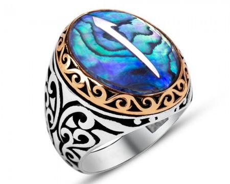 - Elif Motifli Okyanus Sedef Taşlı 925 Ayar Gümüş Erkek Yüzük