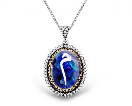 Tesbihane - Okyanus Sedefi Üzerine Sedef Kakma Mim Gümüş Kolye