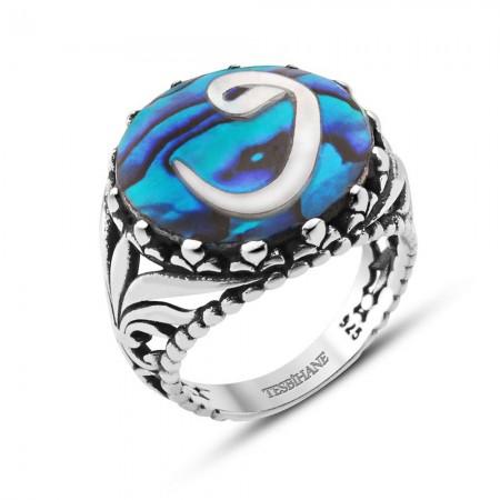 - Okyanus Sedefi Üzerine Vav Tasarım Gümüş Yüzük