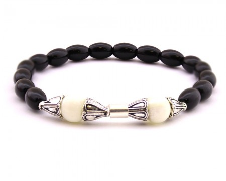 - 925 Ayar Gümüş Arpa Kesim Siyah-Beyaz Oniks Doğaltaş Bileklik
