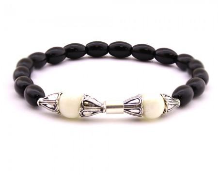 Tesbihane - 925 Ayar Gümüş Arpa Kesim Siyah-Beyaz Oniks Doğaltaş Bileklik