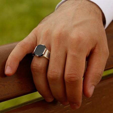 Oniks Taşlı Zarif 925 ayar Gümüş Yüzük - Thumbnail