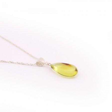 Orijinal Damla Kehribar Kolye - 925 Ayar Gümüş Zincir (Model-10) - Thumbnail
