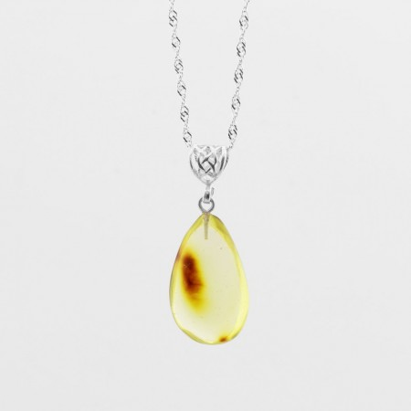 Tesbihane - Orijinal Damla Kehribar Kolye - 925 Ayar Gümüş Zincir (Model-10)