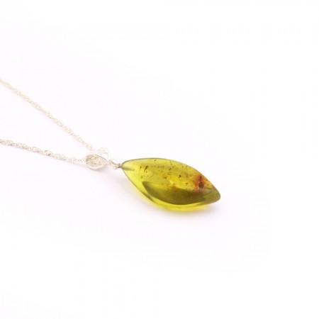 Orijinal Damla Kehribar Kolye - 925 Ayar Gümüş Zincir (Model-7) - Thumbnail