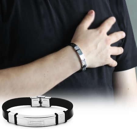 Tesbihane - Labirent Tasarım Siyah Çelik-Deri Kombinli Erkek Bileklik