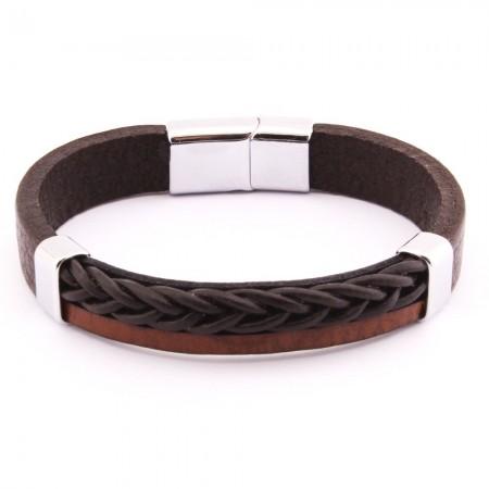 Hasır Tasarım Çift Sıra Kahverengi-Siyah Çelik-Deri Kombinli Erkek Bileklik - Thumbnail