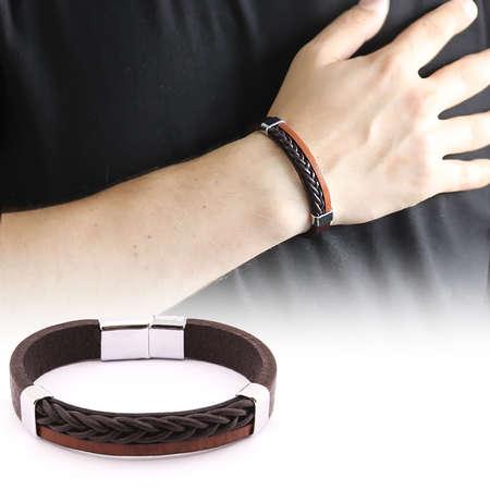 Tesbihane - Hasır Tasarım Çift Sıra Kahverengi-Siyah Çelik-Deri Kombinli Erkek Bileklik