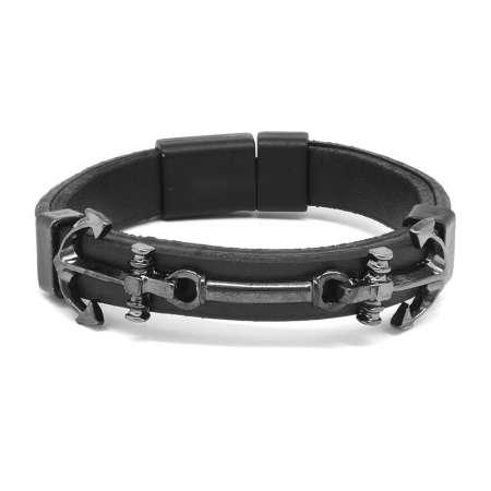 Tesbihane - Çapa Tasarım Siyah Çelik-Deri Kombinli Erkek Bileklik
