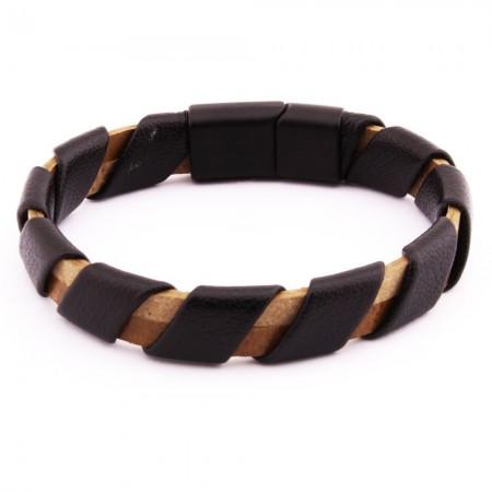 Sarmal Tasarım Siyah-Kahverengi Çelik-Deri Kombinli Erkek Bileklik - Thumbnail