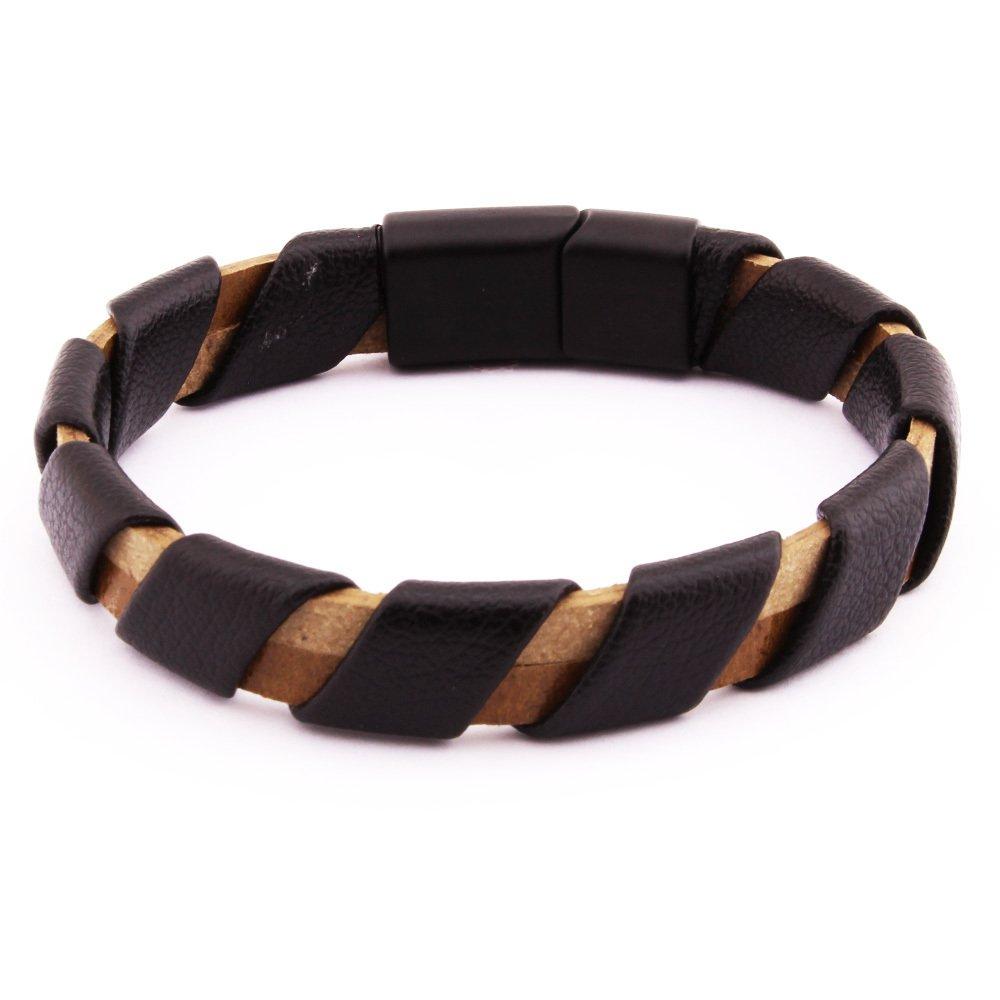 Sarmal Tasarım Siyah-Kahverengi Çelik-Deri Kombinli Erkek Bileklik
