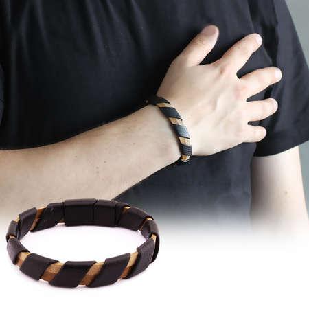 Tesbihane - Sarmal Tasarım Siyah-Kahverengi Çelik-Deri Kombinli Erkek Bileklik