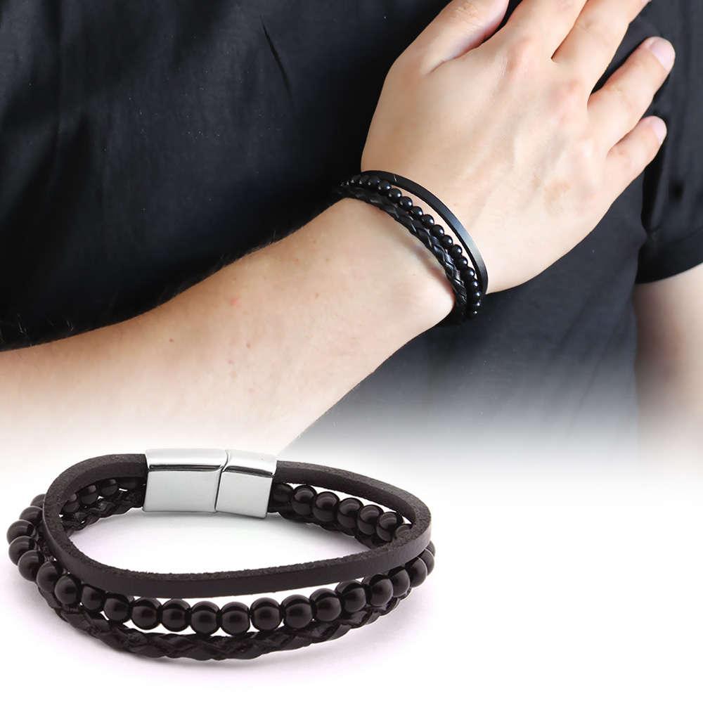 Hasır Tasarım Kuka İşlemeli 3 Sıra Siyah Çelik-Deri Kombinli Erkek Bileklik