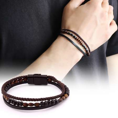 Tesbihane - Hasır Tasarım Kuka İşlemeli 3 Sıra Siyah-Kahverengi Çelik-Deri Kombinli Bileklik
