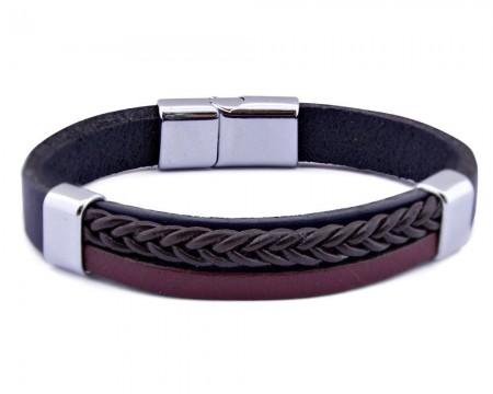 Tesbihane - Hasır Tasarım Siyah-Bordo Çelik-Deri Kombinli Erkek Bileklik