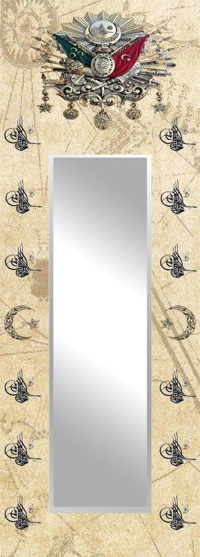 Osmanlı Arma ve Tuğra Temalı Ayna Tasarım Kanvas Tablo (Model-2)