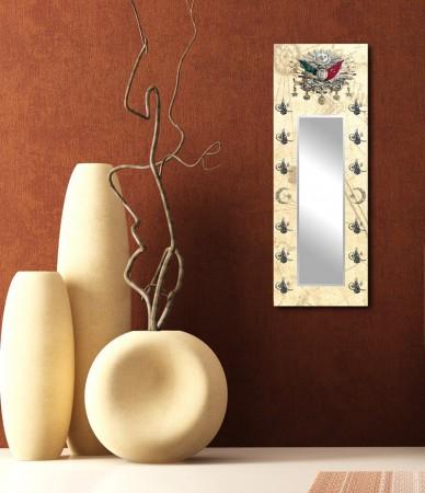 Osmanlı Arma ve Tuğra Temalı Ayna Tasarım Kanvas Tablo (Model-2) - Thumbnail