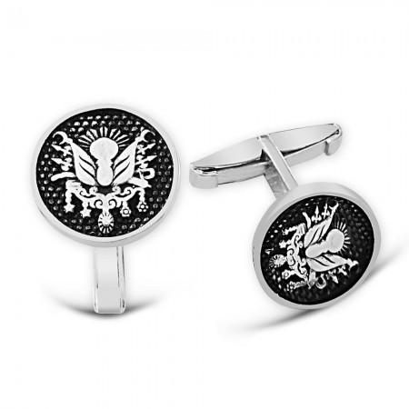 - Osmanlı Devleti Armalı 925 Ayar Gümüş Kol Düğmesi
