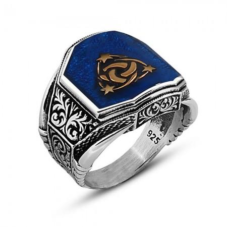 Tesbihane - Köşeli Mavi Mineli 925 Ayar Gümüş Teşkılat-ı Mahsusa Yüzük