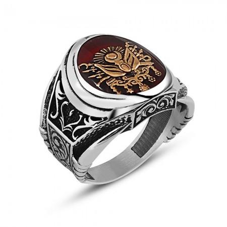 Tesbihane - Otantik İşlemeli Kırmızı Mineli Osmanlı Arma Gümüş Yüzük