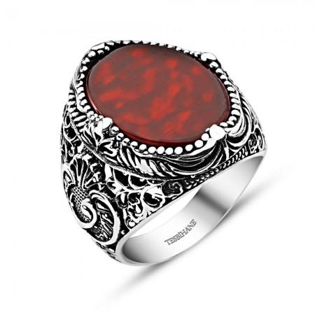 Vav İşlemeli Kırmızı Akik Taşlı 925 Ayar Gümüş Erkek Yüzük - Thumbnail