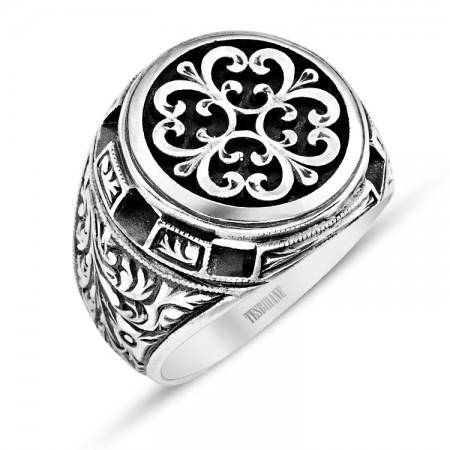Tesbihane - Özel Erzurum El İşçiliği Çiçek Motifli Gümüş Yüzük