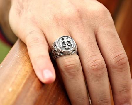 - Özel Erzurum El İşçiliği Selçuklu Kartalı Gümüş Yüzük