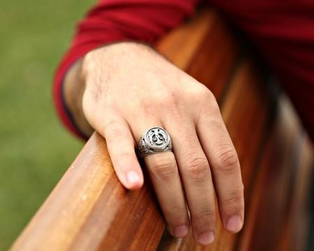 Özel Erzurum El İşçiliği Selçuklu Kartalı Gümüş Yüzük - Thumbnail