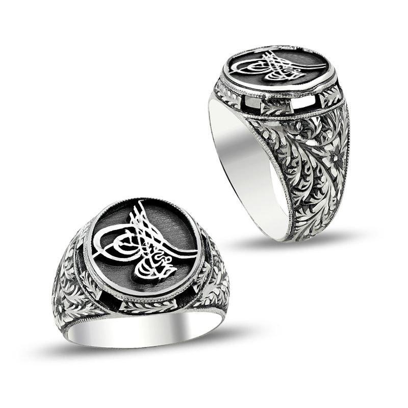 Özel Erzurum El İşçiliği Tuğra Model Gümüş Yüzük