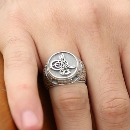 Özel Erzurum El İşçiliği Tuğra Model Gümüş Yüzük - Thumbnail