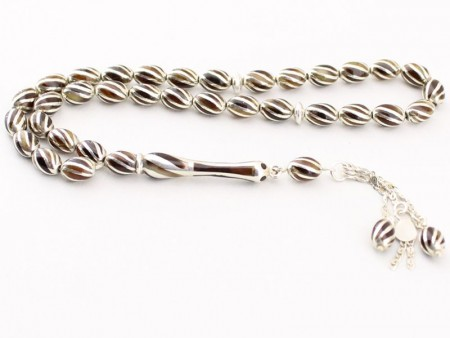 Özel Gümüş İşlemeli Bağa (Kaplumbağa Kabuğu) Tesbih - Thumbnail