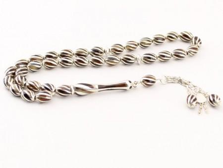 Tesbihane - Özel Gümüş İşlemeli Bağa (Kaplumbağa Kabuğu) Tesbih