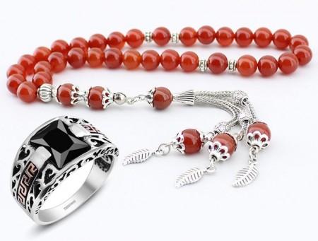 Tesbihane - Özel Kamçılı Akik Tesbih ve Zirkon Taşlı Gümüş Yüzük Kombini (KMBGMS)